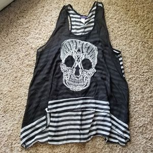 2X Sheer Stripes Skull Top